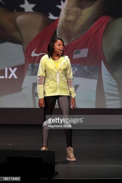Track star Allyson Felix speaks during opening ceremonies for the Third Anniversary Of Let's Move With First Lady Michelle Obama at McCormick Place...