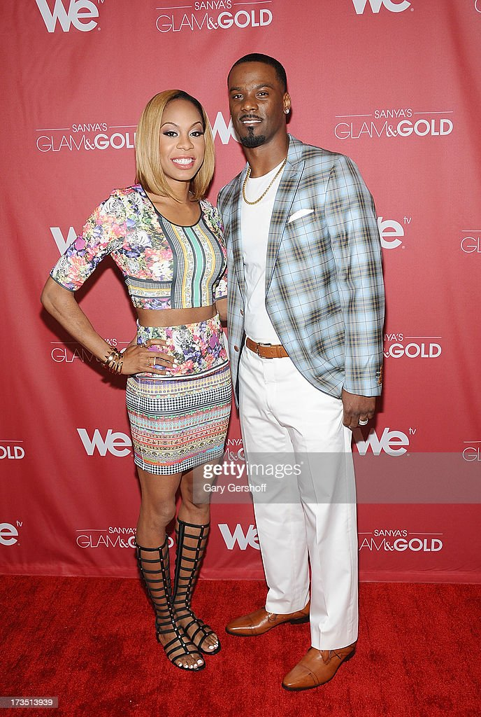 Track world champion Sanya Richards-Ross (L) and New York Giants cornerback Aaron Ross attend 'Sanya's Glam And Gold' Series Premiere at Gansevoort Hotel on July 15, 2013 in New York City.