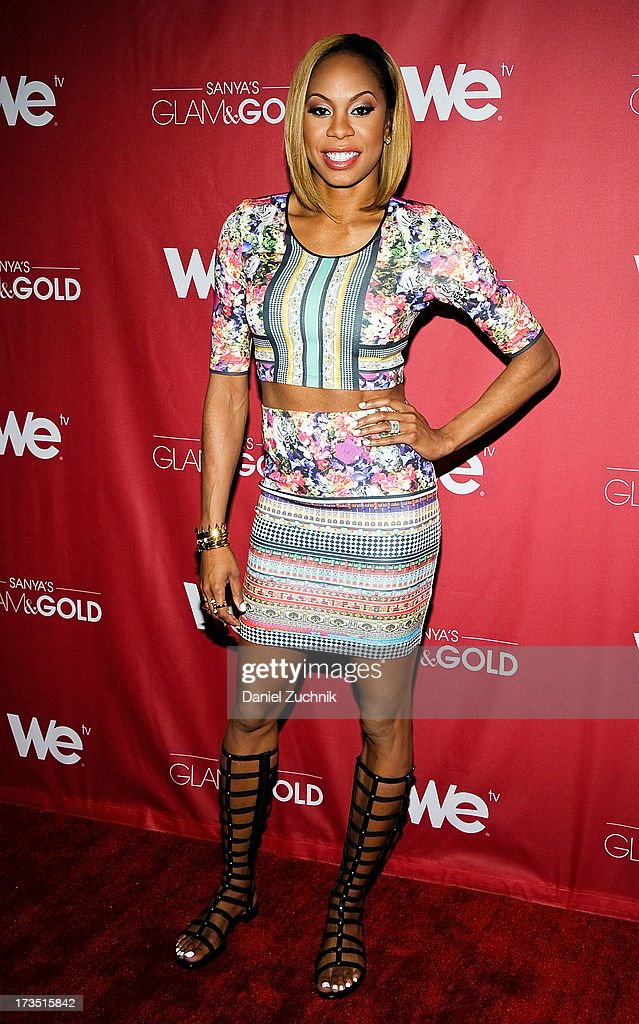 Track world champion <a gi-track='captionPersonalityLinkClicked' href=/galleries/search?phrase=Sanya+Richards&family=editorial&specificpeople=239062 ng-click='$event.stopPropagation()'>Sanya Richards</a>-Ross attends 'Sanya's Glam And Gold' Series Premiere at the Gansevoort Hotel on July 15, 2013 in New York City.