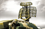 Tracking radar of the anti-aircraft combat vehicle missile system.