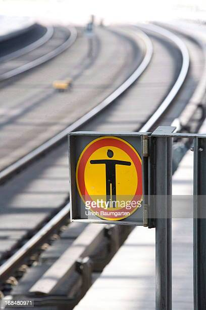 Tracks and no crossing sign in the main train station on April 28 2013 in Berlin Germany