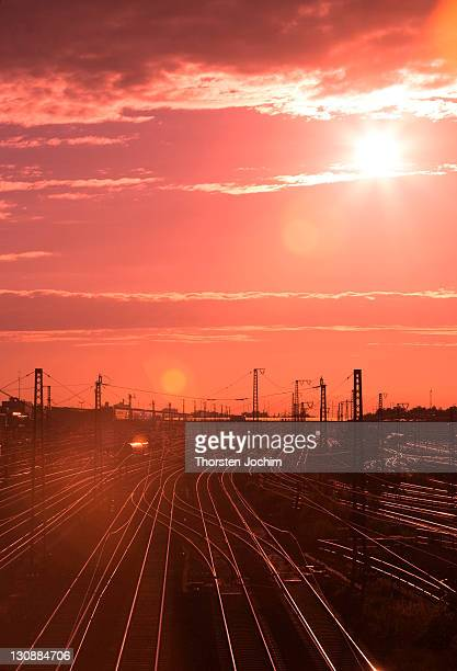 Tracks in back light with sun set in Munich