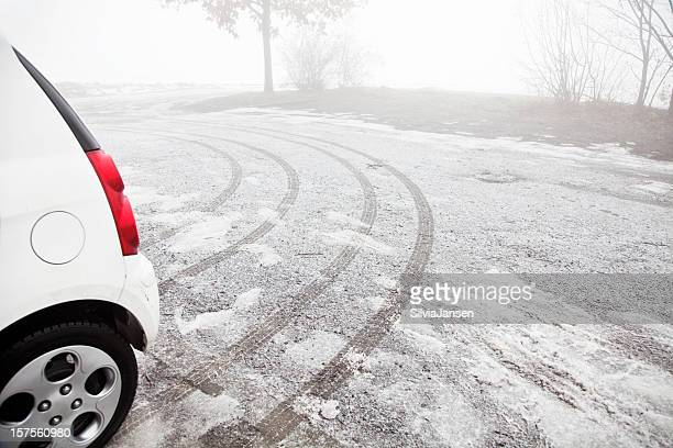 tracks of a car in winter