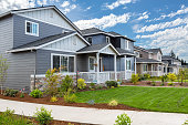 Tract homes in new subdivision in North American suburban residential neighborhood United States
