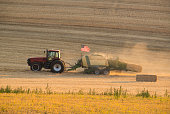 Tractor and American Flag