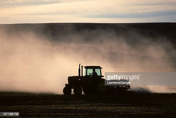 tractor and dust