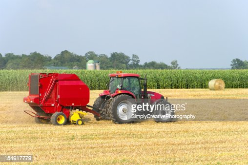 Tractor Baling Straw