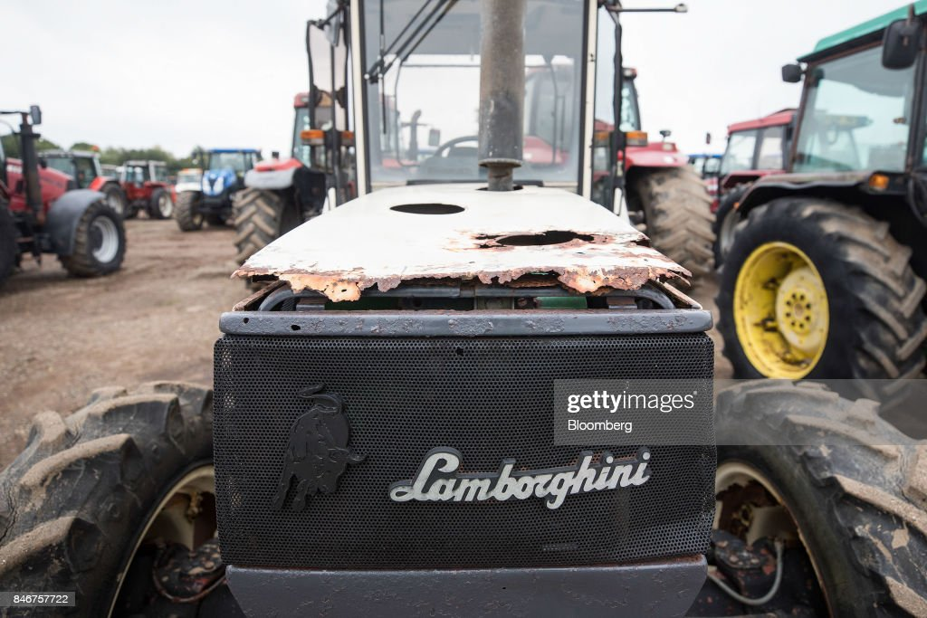 A tractor, manufactured by Automobili Lamborghini SpA, sits at the Cheffins Cambridge Machinery Sales monthly machinery and plant auction in Sutton, U.K., on Monday, Sept. 4, 2017. The debate over food andfarmingpolicy after Brexit has heated up recently, with Environment Secretary Michael Gove telling BBC Radio 4 that the U.K wouldnt lower its animal welfare or environmental standards to achieve any new trade deals. Photographer: Simon Dawson/Bloomberg via Getty Images
