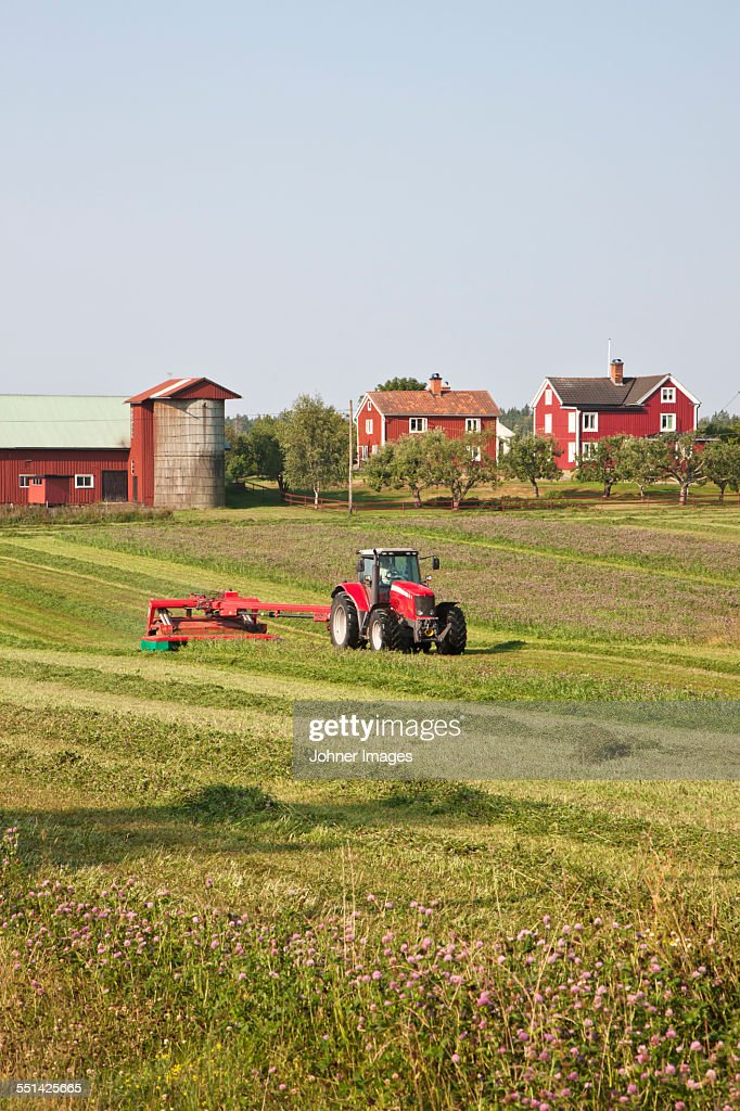 Tractor mowing grass