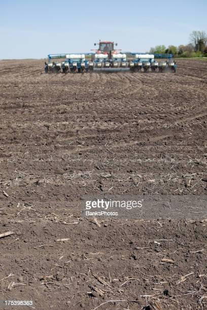 Tractor Planting Corn Seed in Field