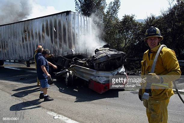 A tractor trailer burns along the southbound side of I–5 in the Newhall PassInterstate 5 was closed in both directions at the north side of the...