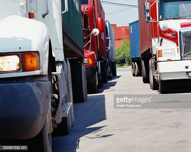 Tractor trailers lined up at checkpoint
