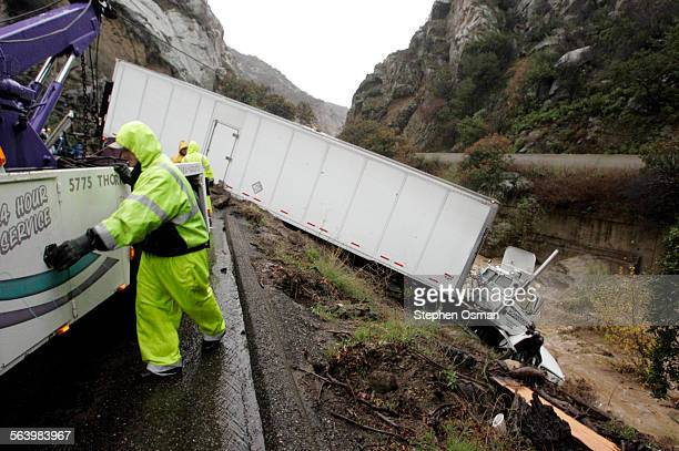 A tractor–trailer traveling northbound on highway 101 carrying a load of auto parts crashed just north of the Gaviota tunnel in the Gaviota Pass...
