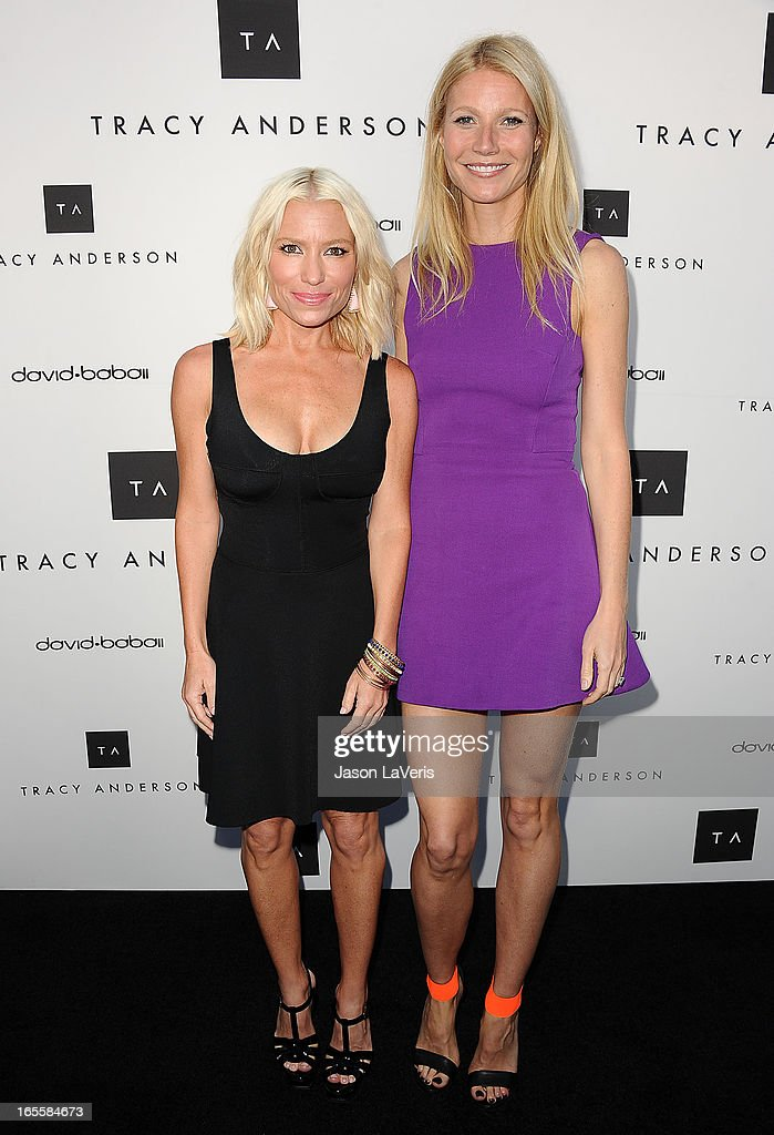 Tracy Anderson and Gwyneth Paltrow attend the opening of Tracy Anderson Flagship Studio on April 4 2013 in Brentwood California