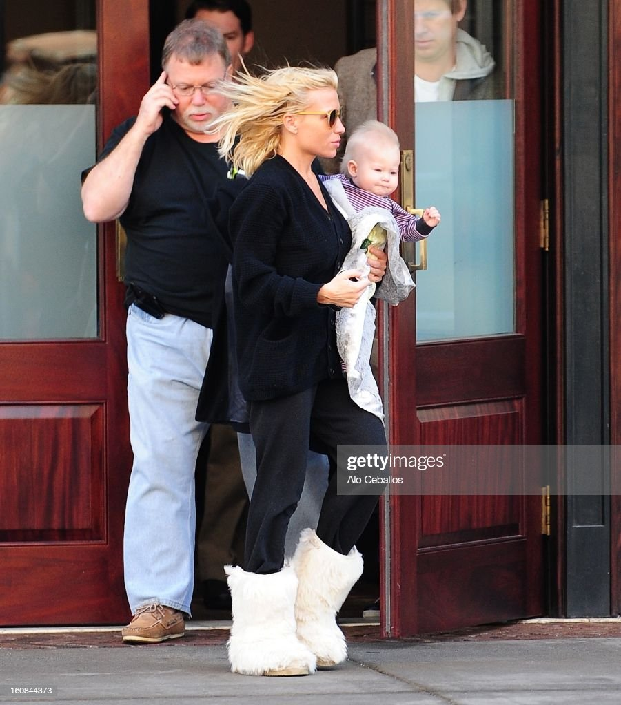 Tracy Anderson and Penelope are seen in Tribeca on February 6, 2013 in New York City.