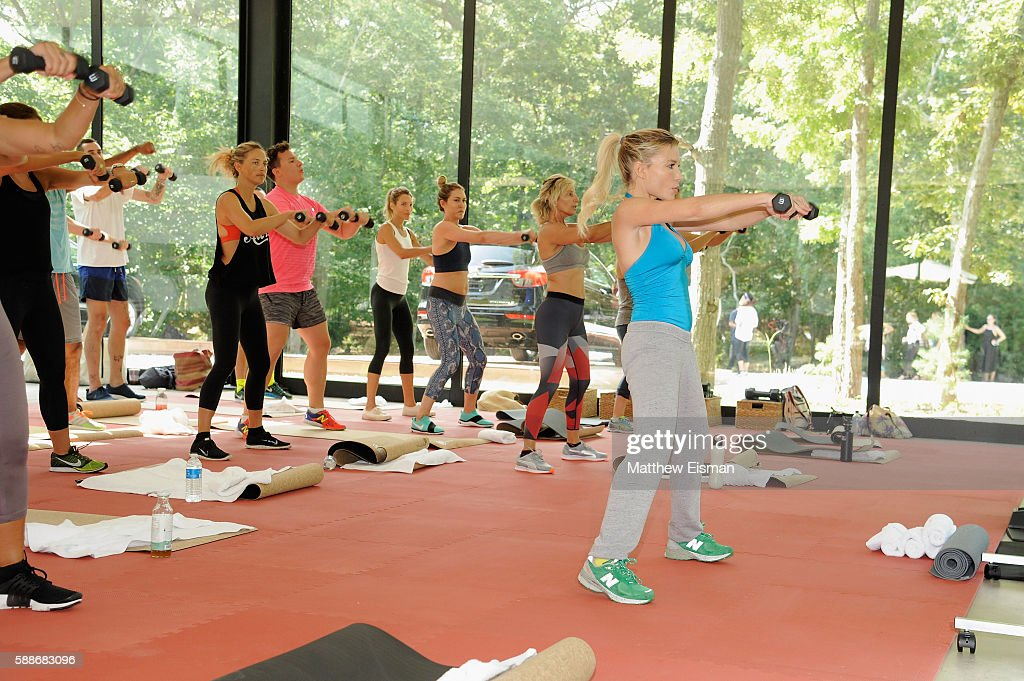 Tracy Anderson leads a workout at the Buick celebration of the new Envision in the Hamptons at Buick Studio Envision on August 12 2016 in East...