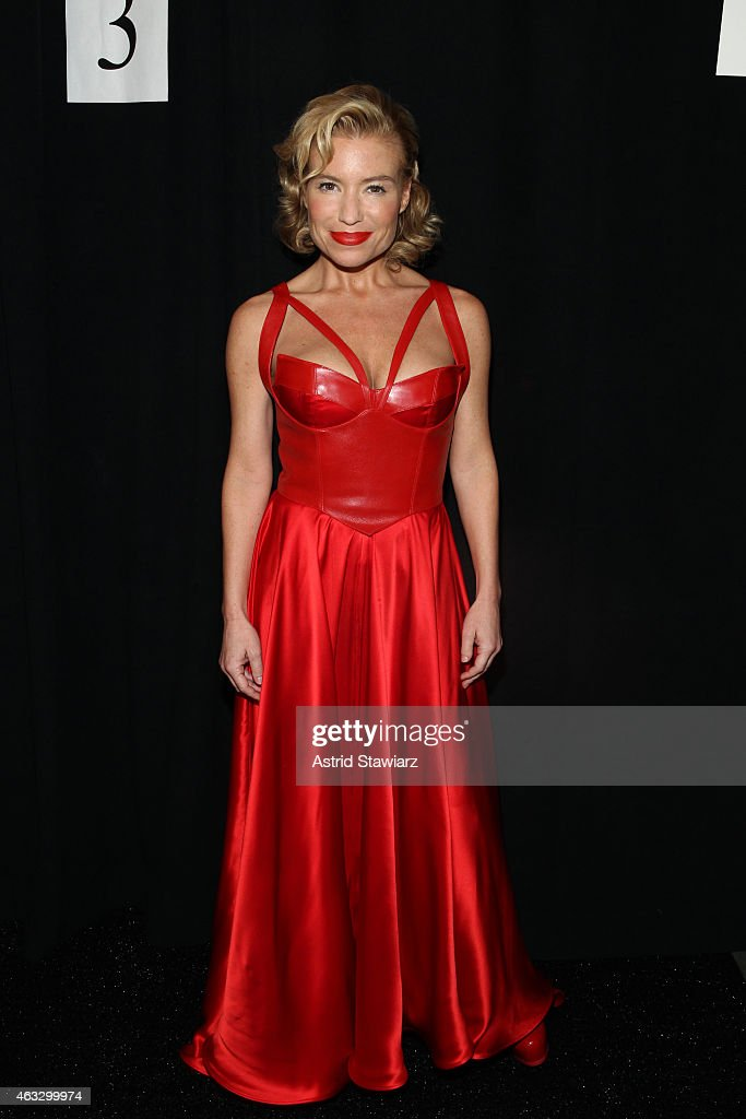 Tracy Anderson poses backstage at the Go Red For Women Red Dress Collection 2015 presented by Macy's fashion show during MercedesBenz Fashion Week...