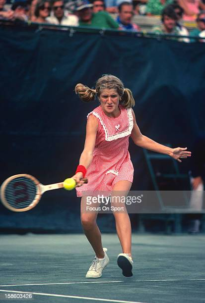 Tracy Austin hits a return during the Women's 1978 US Open Tennis Championships circa 1978 at Forest Hills in the Queens borough of New York City