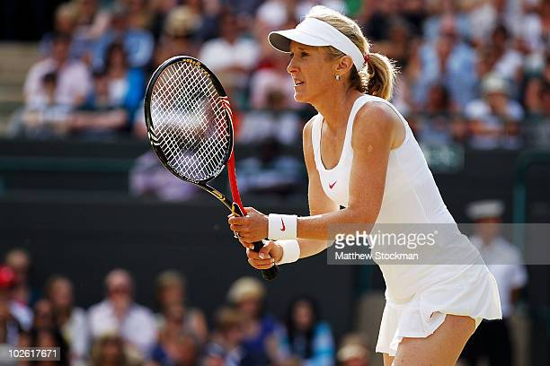 Tracy Austin in action during the Ladies Invitational Doubles Final against Martina Navratilova of USA and Jana Novotna of Czech Republic on Day...