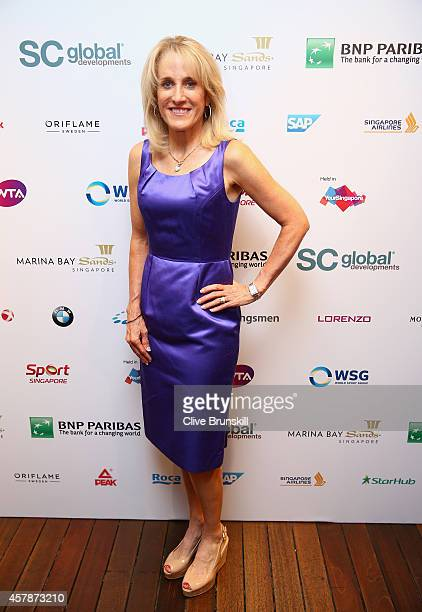 Tracy Austin of the United States poses for a photograph at the WTA Year End Gala Party at the Marina Bay Sands Hotel during the BNP Paribas WTA...