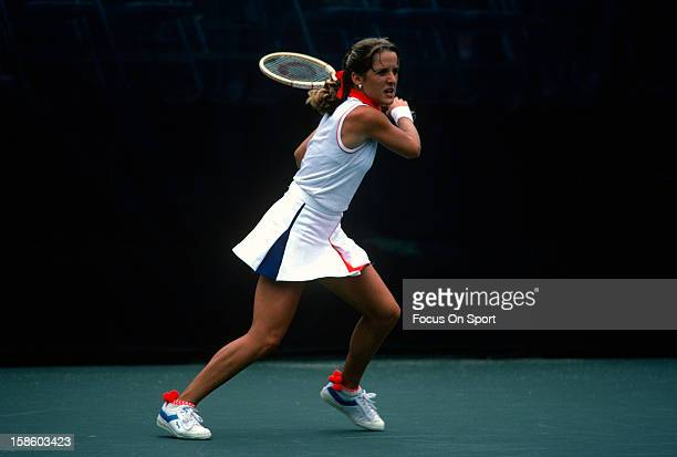 Tracy Austin returns a shot during the Women's 1981 US Open Tennis Championships circa 1981 at the USTA Tennis Center in the Queens borough of New...