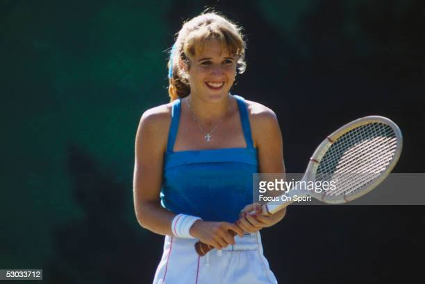 Tracy Austin smiles during practice