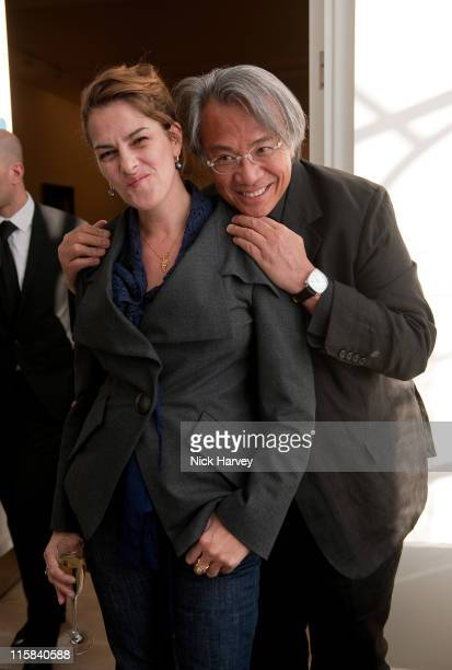Tracy Emin and Sir David Tang attend the private viewing of 'Phillips de Pury BRIC' at the Saatchi Gallery on April 17 2010 in London England