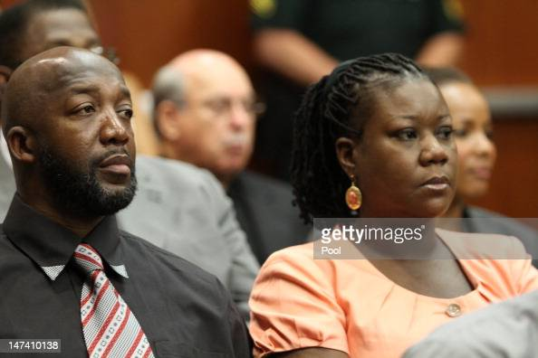 Tracy Martin and Sybrina Fulton parents to Trayvon Martin sit in a Seminole County courtroom during the bond hearing for George Zimmerman on June 29...