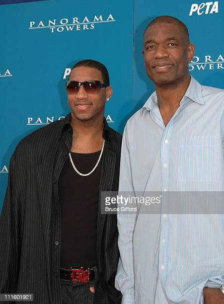 Tracy McGrady and Dikembe Mutombo during Pamela Anderson Hosts 'Panorama Towers Groundbreaking of Tower 3' at Panorama Towers in Las Vegas Nevada...