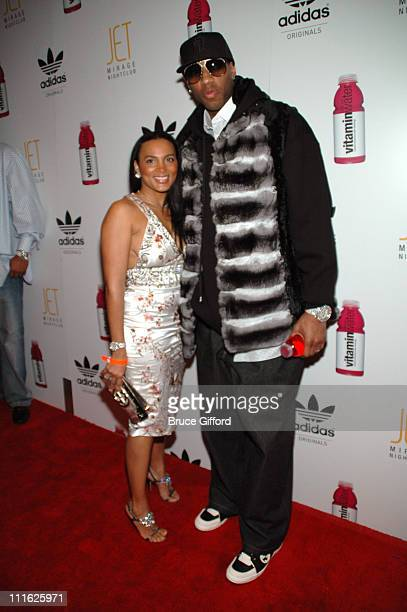 Tracy McGrady and wife during Tracy McGrady and Diddy Host AllStar Kick Off Party at JET Nightclub The Mirage Hotel Casino in Las Vegas Nevada United...