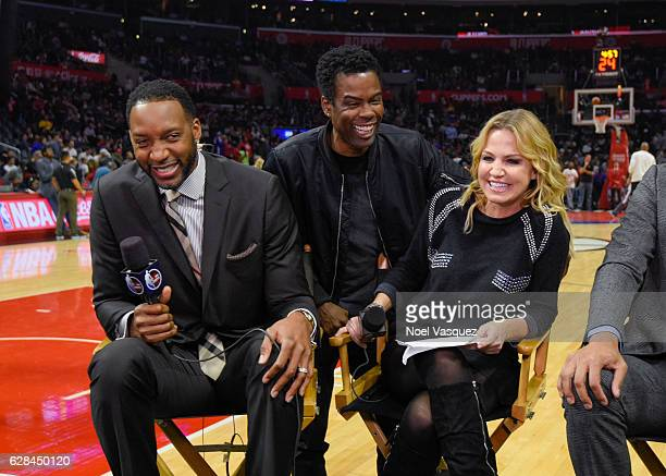 Tracy McGrady Chris Rock and Michelle Beadle attend basketball game between the Golden State Warriors and the Los Angeles Clippers at Staples Center...