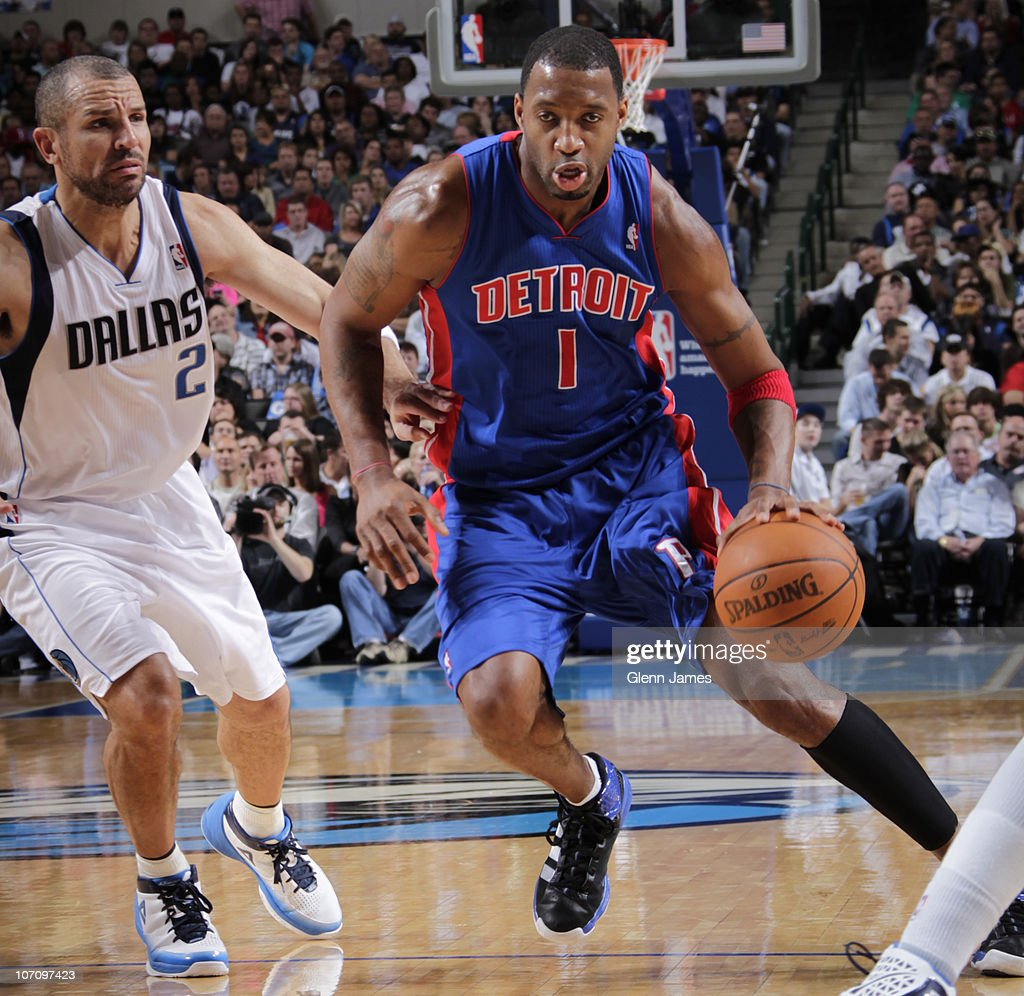 Tracy McGrady #1 of the Detroit Pistons drives against Jason Kidd #2 of the Dallas Mavericks during a game on November 23, 2010 at the American Airlines Center in Dallas, Texas.