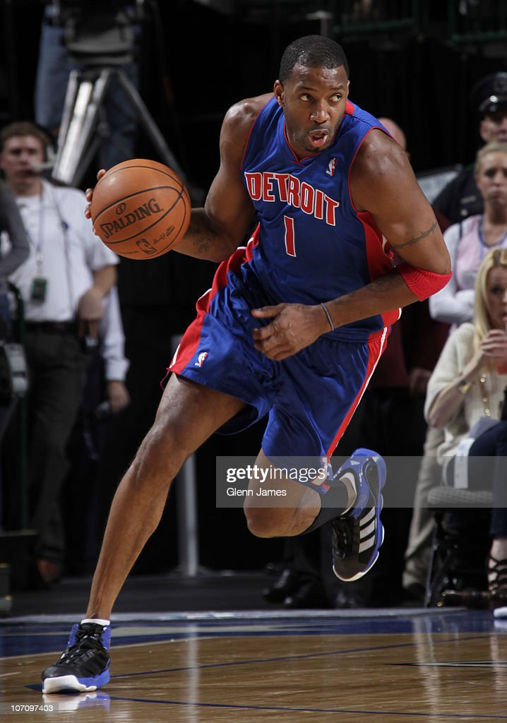 Tracy McGrady #1 of the Detroit Pistons drives against the Dallas Mavericks during a game on November 23, 2010 at the American Airlines Center in Dallas, Texas.