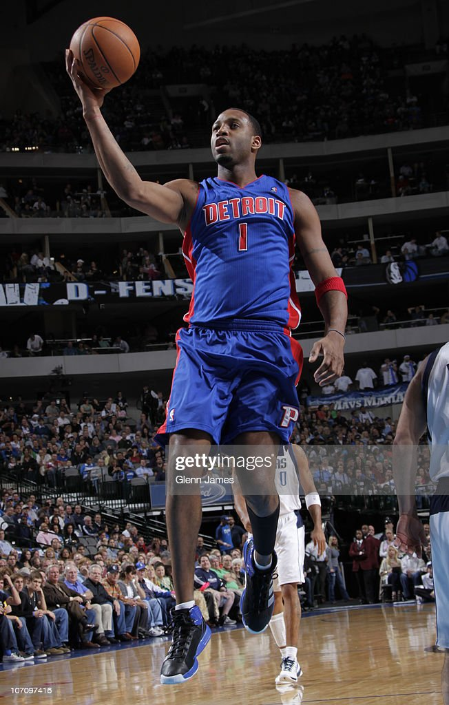 Tracy McGrady #1 of the Detroit Pistons floats in for the layup against the Dallas Mavericks during a game on November 23, 2010 at the American Airlines Center in Dallas, Texas.