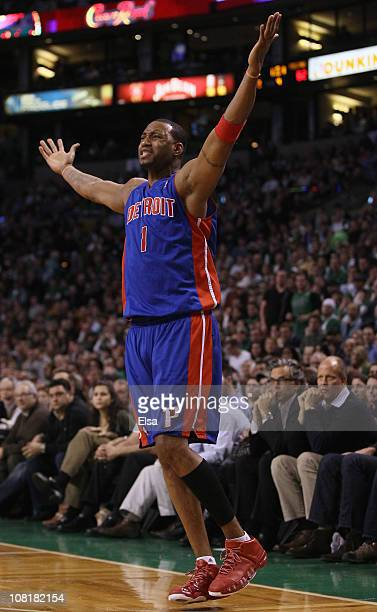 Tracy McGrady of the Detroit Pistons reacts after he misses a shot and no foul was called against the Boston Celtics during the final minutes of the...
