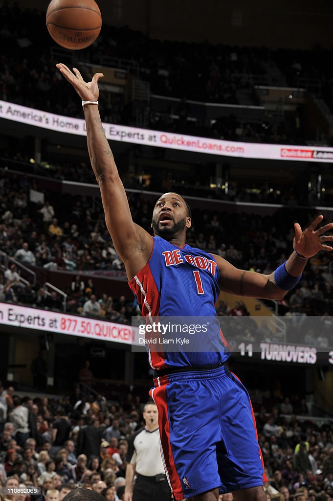 <a gi-track='captionPersonalityLinkClicked' href=/galleries/search?phrase=Tracy+McGrady&family=editorial&specificpeople=201486 ng-click='$event.stopPropagation()'>Tracy McGrady</a> #1 of the Detroit Pistons shoots against the Cleveland Cavaliers during the game at The Quicken Loans Arena on March 25, 2011 in Cleveland, Ohio.