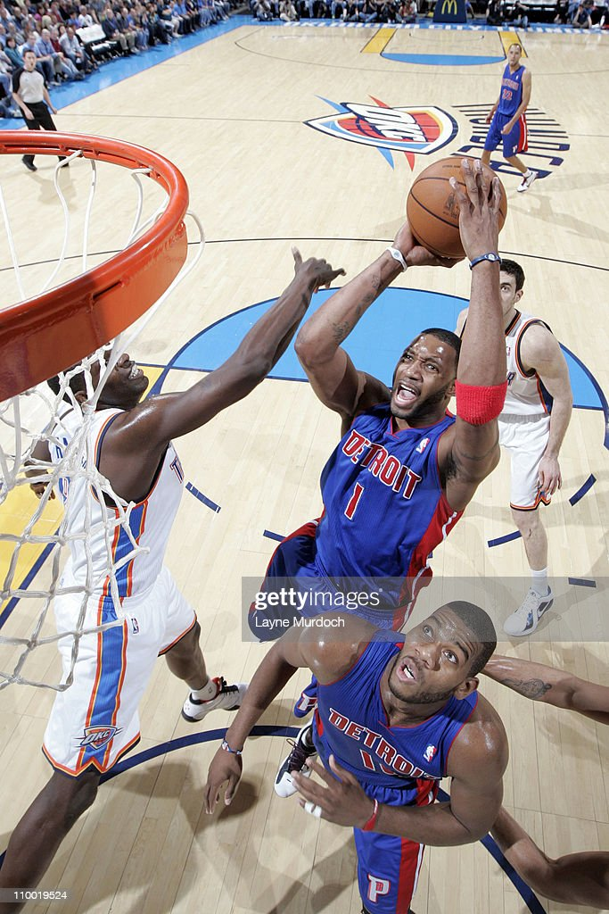 <a gi-track='captionPersonalityLinkClicked' href=/galleries/search?phrase=Tracy+McGrady&family=editorial&specificpeople=201486 ng-click='$event.stopPropagation()'>Tracy McGrady</a> #1 of the Detroit Pistons shoots against the Oklahoma City Thunder during the game on March 11, 2011 at the Oklahoma City Arena in Oklahoma City, Oklahoma.