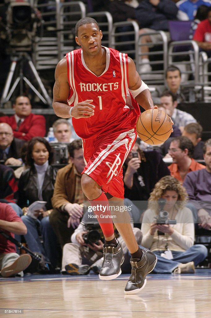 Tracy McGrady #1 of the Houston Rockets brings the ball upcourt during the game against the Los Angeles Clippers at Staples Center on November 20, 2004 in Los Angeles, California. The Rockets won in overtime 91-86.