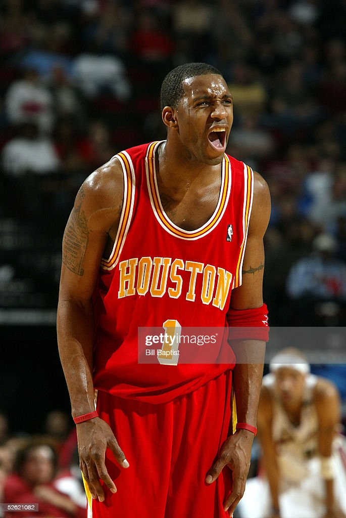 Tracy McGrady #1 of the Houston Rockets reacts during the game against the Cleveland Cavaliers on March 24, 2005 at the Toyota Center in Houston, Texas. The Rockets won 99-80.