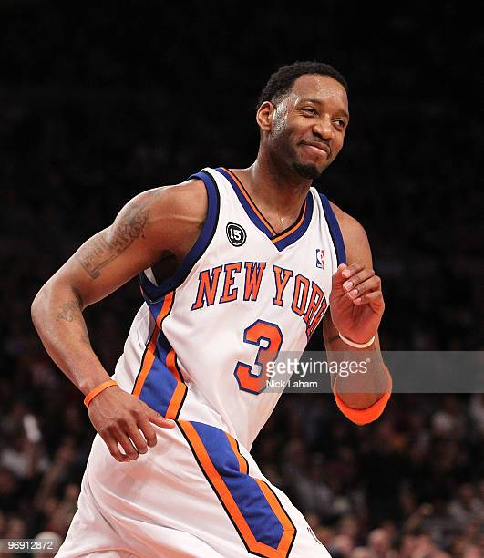 Tracy McGrady of the New York Knicks smiles after making a basket against the Oklahoma City Thunder at Madison Square Garden on February 20 2010 in...