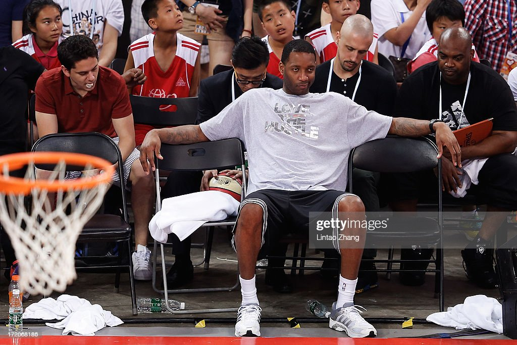 Tracy McGrady of the San Antonio Spurs attends the 2013 Yao Foundation Charity Game between China and the NBA Stars on July 1, 2013 in Beijing, China.