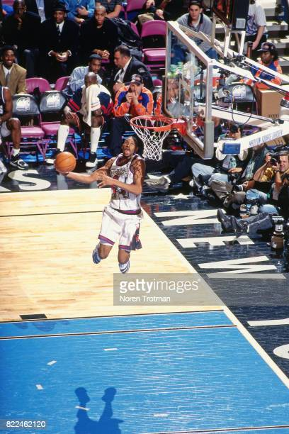Tracy McGrady of the Toroto Raptors dunks during the 1996 Rookie Challenge played February 10 1996 at the Alamodome in San Antonio Texas NOTE TO USER...