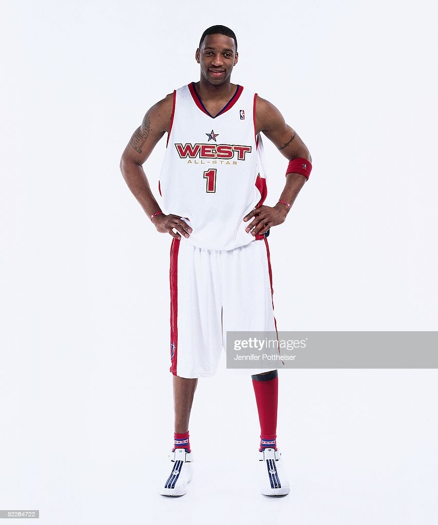Tracy McGrady #1 of the Western Conference All-Stars poses for a portrait prior to the 2005 NBA All-Star Game at The Pepsi Center on February 20, 2005 in Denver, Colorado.