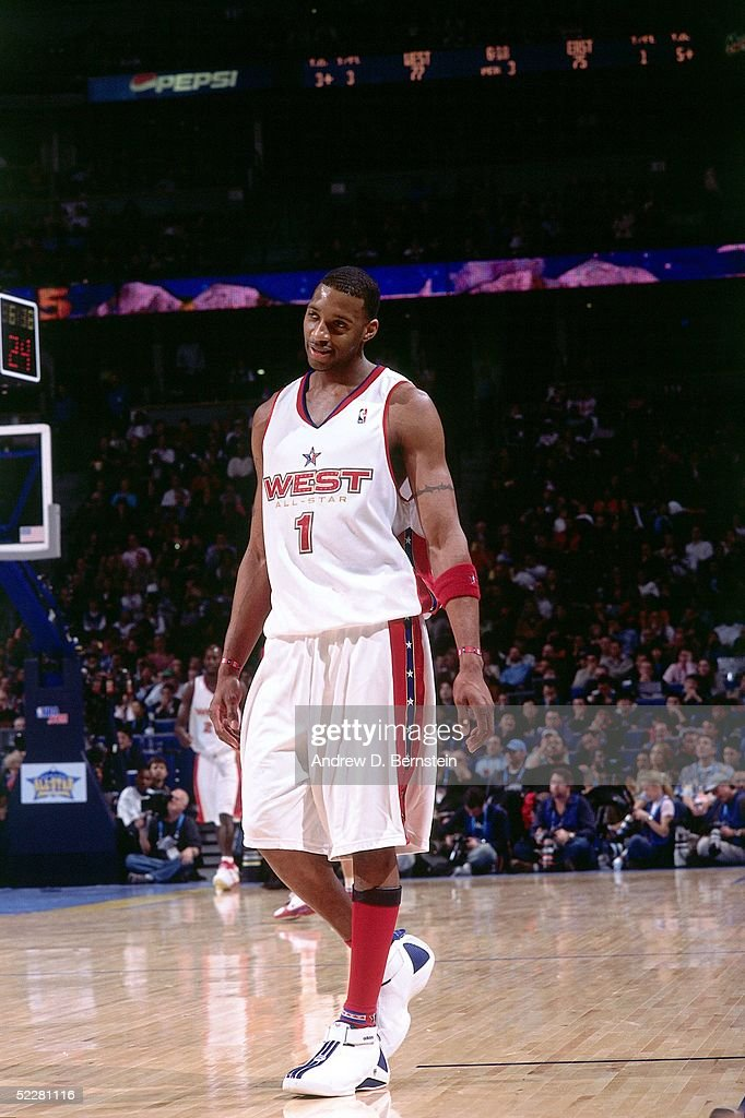 Tracy McGrady # 1 of the Western Conference All-Stars relaxes during the 2005 All-Star Game on February 20, 2005 at The Pepsi Center in Denver, Colorado.