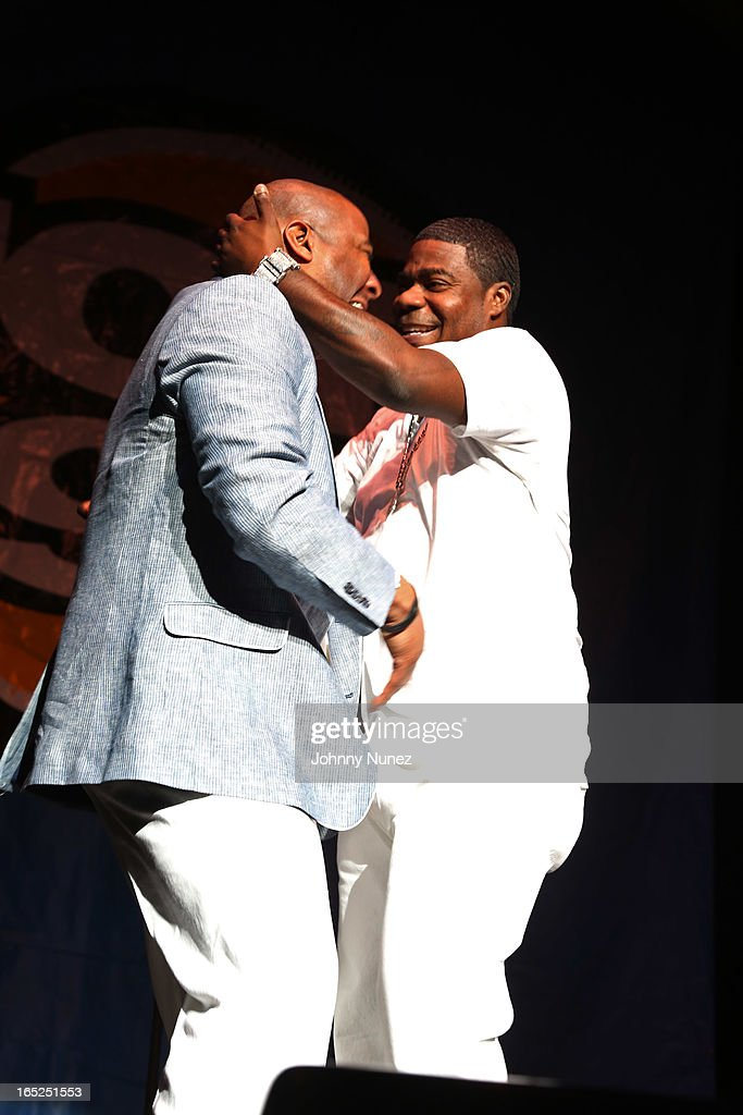 <a gi-track='captionPersonalityLinkClicked' href=/galleries/search?phrase=Tracy+Morgan&family=editorial&specificpeople=182428 ng-click='$event.stopPropagation()'>Tracy Morgan</a> (r) and Capone perform at Hot 97's April Fool's Comedy Show at The Theater at Madison Square Garden on April 1, 2013, in New York City.