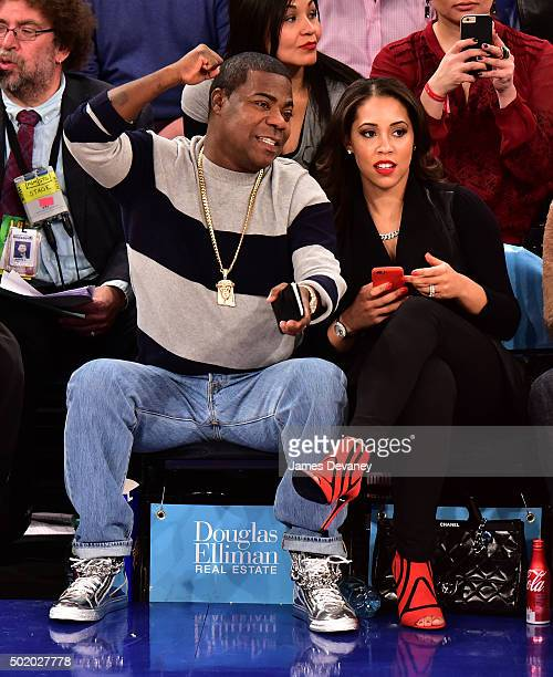Tracy Morgan and Megan Morgan attend the New York Knicks vs Chicago Bulls game at Madison Square Garden on December 19 2015 in New York City