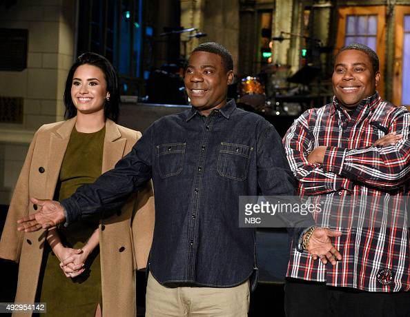 LIVE 'Tracy Morgan' Episode 1686 Pictured Demi Lovato Tracy Morgan and Kenan Thompson on October 15 2015