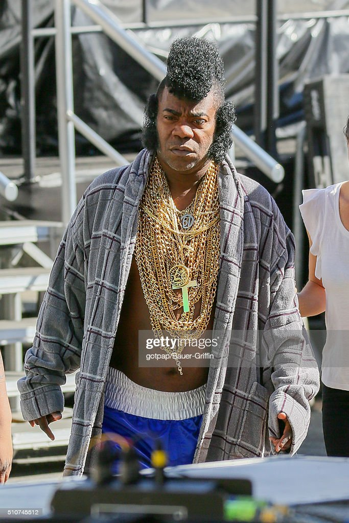 Tracy Morgan is seen dressed with gold chains and a mohawk in the style of 'Mr T' outside 'Jimmy Kimmel Live' on February 16 2016 in Los Angeles...