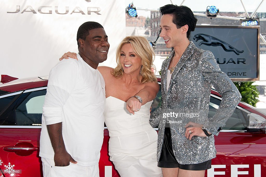 Tracy Morgan, Jane Krakowski, and Johnny Weir attend the opening of Jaguar's 'Chill NY' at High Line Park on August 16, 2012 in New York City.