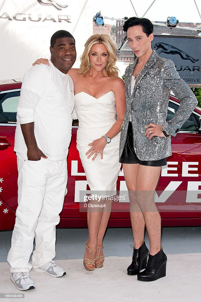 <a gi-track='captionPersonalityLinkClicked' href=/galleries/search?phrase=Tracy+Morgan&family=editorial&specificpeople=182428 ng-click='$event.stopPropagation()'>Tracy Morgan</a>, <a gi-track='captionPersonalityLinkClicked' href=/galleries/search?phrase=Jane+Krakowski&family=editorial&specificpeople=203166 ng-click='$event.stopPropagation()'>Jane Krakowski</a>, and <a gi-track='captionPersonalityLinkClicked' href=/galleries/search?phrase=Johnny+Weir&family=editorial&specificpeople=208701 ng-click='$event.stopPropagation()'>Johnny Weir</a> attend the opening of Jaguar's 'Chill NY' at High Line Park on August 16, 2012 in New York City.